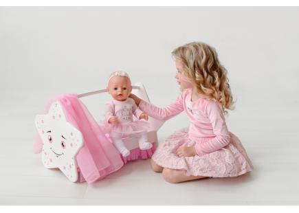 Деревянная Кроватка для кукол звездочка